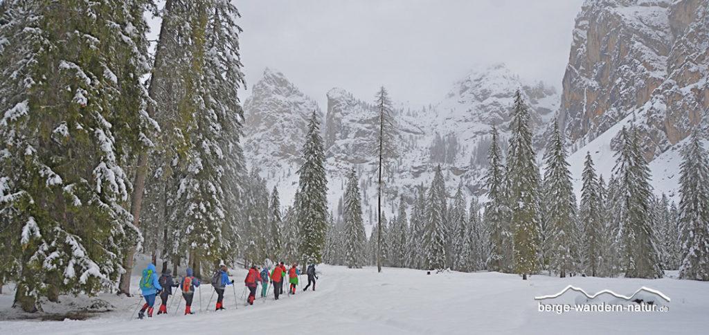 Schneeschuhgruppe in tief verschneiter Landschaft Richtung kleiner Jaufen